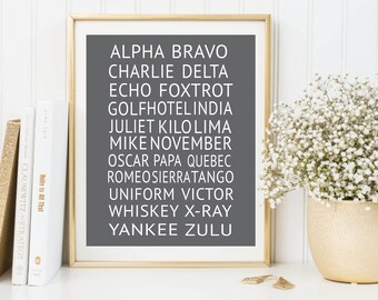 NATO Phonetic Alphabet Pilot Gift Print, Aviation Art, Aviation Decor, Printable Art, Boys Room Decor, Phonetic Alphabet Poster Charcoal