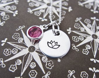Flower Girl Necklace, Custom Stamped Sterling Silver - Personalized Disc Pendant With One Swarovski Crystal