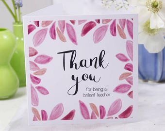Teacher Thank You Patterned Card - Thank You Teacher Card - Thank you Card - Teacher Card