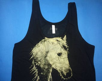 crop top, crop tank horse, horse, horse crop top, tank top horse, 1Aeon gold Crying Horse boxy tank, crop tank, womens loose tank
