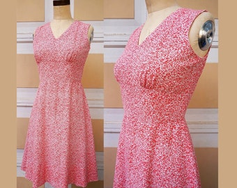 1970s Red & White Floral Fit and Flare Dress