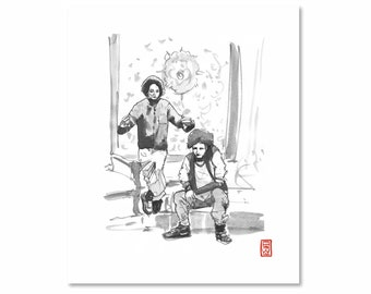 Les Twins / Black and White / Fine Art Print / Giclee / Japanese Ink  / Yokai Illustration