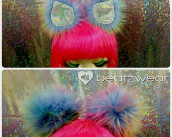Holographic cat ears furry clip in cat ears tie dye disco kitty rainbow cat ears headband
