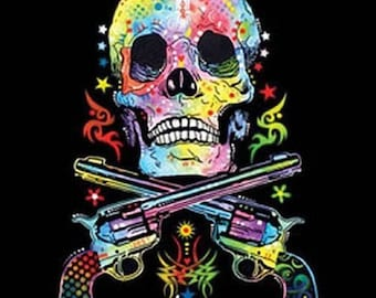 Skull and Guns Tank Top Blacklight Neon Choose Size and Color 19052NBT2