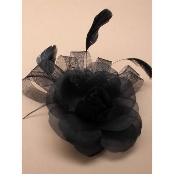 Black Flower Fascinator Hat: Black Flower Fascinator Feather Fascinator Cocktail Hat