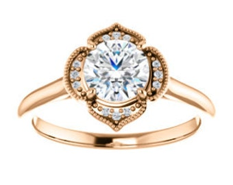 "Moissanite ""Forever Brilliant"", Diamond 14K Gold Vintage Style Halo Engagement Ring"