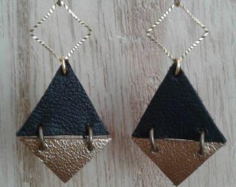 Metal gold, Black Diamond - Diamond Earrings