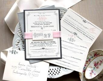 "Pink Wedding Invitations, Modern Wedding Invitations, Mad Lib RSVP Card, Wedding Invites - ""Whimsy Elegance"" Sample"