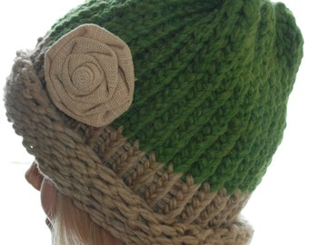 Knitted Hat With Flower Adult / Youth