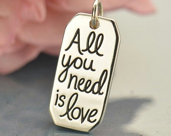 All You Need is Love sterling silver charm or pendant. Add to your necklace.