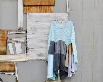 Upcycling Kleid, Boho, böhmische, Pullover, Kleid aus Baumwolle, Patchwork, Statement Kleid, Festival, braun, Winter-Kleid, erdig, CreoleSha