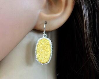 Drusy Earrings Druzy Earrings, yellowd Tone trendy boho designer inspired