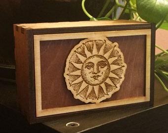 Tarot Cards Box Sun Stash Box Sun Treasure Box Sun Mindfulness Gift Sun Spiritual Gift (12010MB)