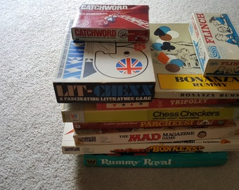 Set of 10 Empty Game Boxes for Crafts or Display, 1960s-1980 vintage board games