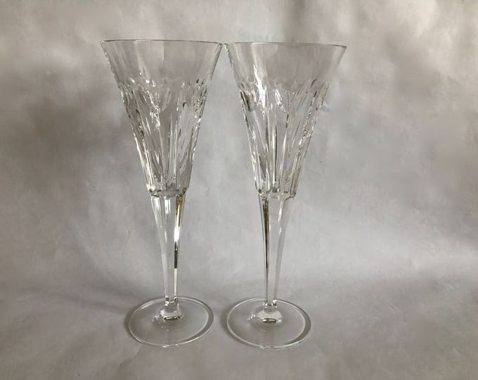 Featured listing image: Pair WATERFORD FLUTES, Toasting Flutes, Crystal Flutes, Wedding Flutes, Love Flutes, Tall Crystal Flutes, Heart Flutes, Wedding Gift, Shower