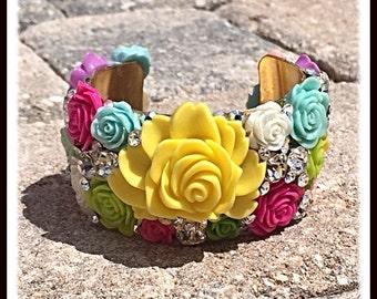 Swarovski Crystal Spring Bright Floral Cuff Bracelet