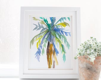 Watercolor Palm, Digital Download, Palm Tree Print, Palm Painting, Printable Wall Art, Coastal Decor, Beach House Artwork, Tropical Wall Art