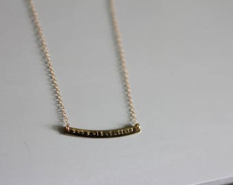 Curved double date bar || Gold Filled necklace