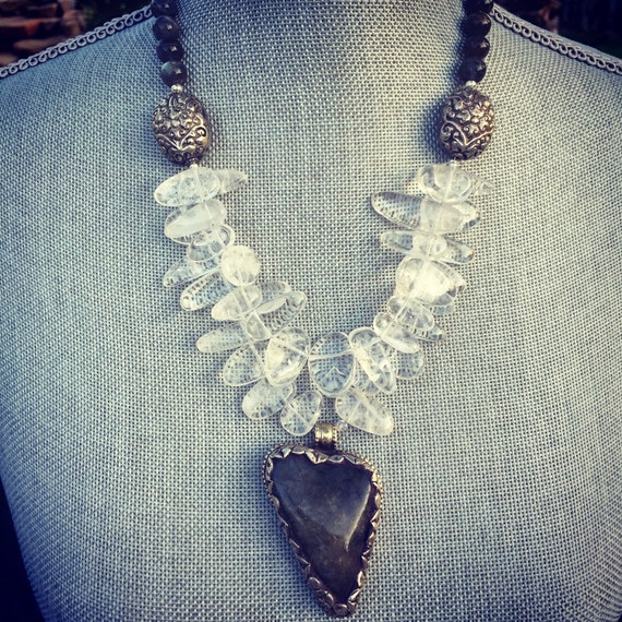 Labradorite and Quartz Boho Statement Necklace and Earring Set