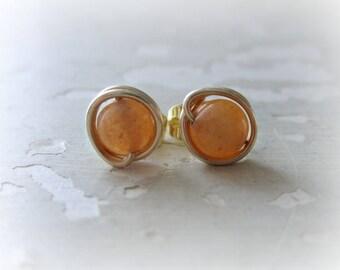 Red Aventurine Studs, Gold Stud Earrings, Gemstone Studs, Orange Stone Studs, Orange Stud Earrings, Natural Stone Studs,  Gold Earrings