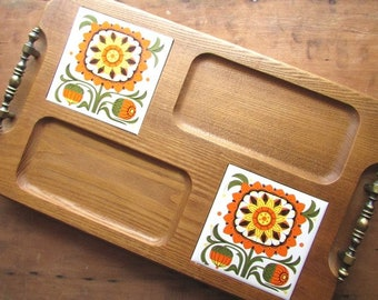 Mid Century Wood Serving Tray Cheese Appetizer Tray with Ceramic Trivets
