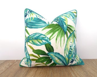 Tropical outdoor pillow case, palm leaf pillow cover beach house decor, green and turquoise outdoor cushion swaying palm summer decoration