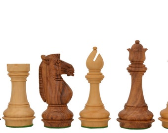 The Collector Series Triple Weighted Staunton Chess Pieces in Shesam & Box Wood 4Q. SKU: M0100