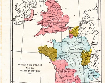 old map of England and France from a 1904 Encyclopedia Britannica