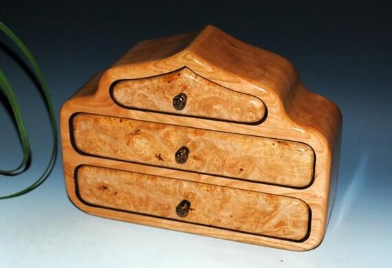 Jewelry Box - Wooden Jewelry Box - The Pagoda Box -Maple Burl on Cherry- Wood Jewelry Box, Art Jewelry Box, Storage Box, Wood Gift, Gift Box