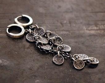 raw disc with sterling silver earrings • statement earrings • huggie hoops • statement jewelry • long chanin earrings