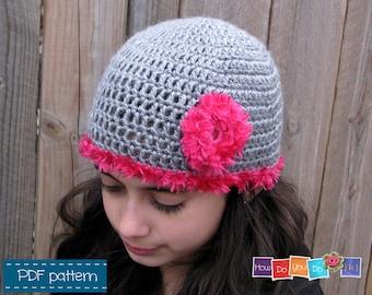 Crochet Hat for Girl Pattern Photo Tutorial , Beanie for Girl with flower , Instant Download PDF Pattern , Beginner Crochet , How to Crochet