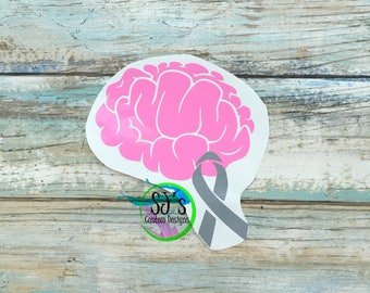 Brain cancer, Brain disease decal, Brain decal, Cancer decal, Brain Cancer decal, Brain Awareness, Brain disease, Cancer car decal,