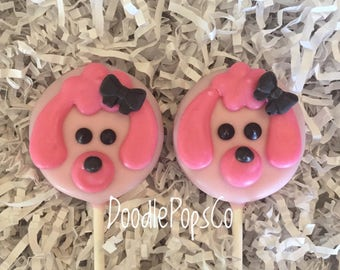 Pink Poodle Oreo cookie pop / Paris party favor / girls birthday / one dozen (12)