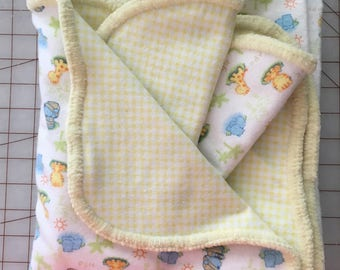 "Hemstitched Flannel Baby Receiving Blanket, 2 Burp Cloth,  Approx 40"" x 40"", Yellow soft border, Yellow back, Baby Gift, Baby Zoo Animals"