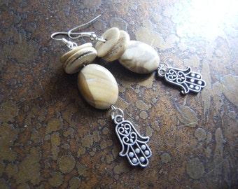 Natural Hamsa Wood Jasper and Coco Pukalet Beaded Dangle earrings