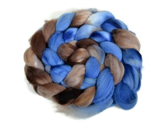 Organic Polwarth 4 oz hand dyed roving, Combed Top, Polwarth spinning fiber, Blue, Brown - Elena
