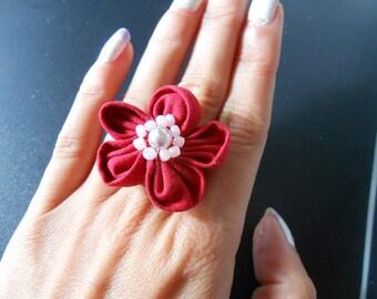 Red Kanzashi ring
