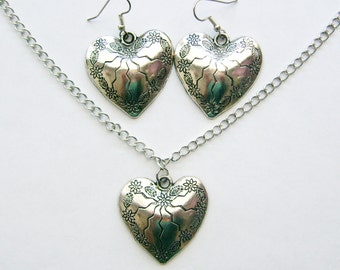 Silver Heart on a Chain with Matching Earrings