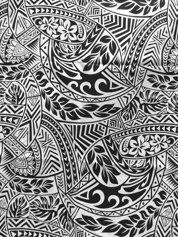 tissu polyn sien tissu motifs de tapa blanc et noir 100. Black Bedroom Furniture Sets. Home Design Ideas