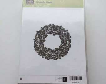 "Stampin Up ""Wonderful Wreath"" Brand New, Never Used Wood Mounted Retired Rubber Stamp, Perfect for Cardmaking and/or Scrapbooking"