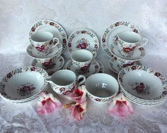 Washington pottery Harvest pattern Hanley England ceramic cup saucer dessert plate
