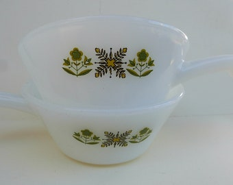 vintage Fire King milk Glass Ramekins