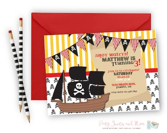 Pirate Birthday Invitation, Pirate Ship Birthday Invitation, Skull Birthday Invitation