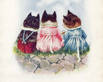 Tell Us a Story- vintage book illustration notecard, Tom Mitten's Kittens, Dolores McKay, 1923