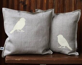 Bird pillow covers set - cream birds cushion cover -  bird print throw pillow - cushion cover for shabby chic home decor  0294