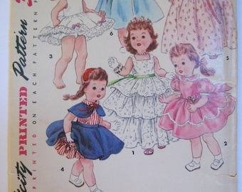 "Simplicity 4908 Vintage Sewing Pattern 1954 UNCUT Doll Clothes Clothing 17"" Dolls Ideal Bonny Braids Walker  Saucy Walker 1950s 50s ORIGINAL"