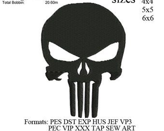 punisher skull logo embroidery machine. embroidery pattern . embroidery designs