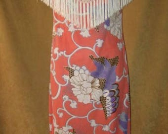 Coral Mod Print Dress with Fringe 70s Vintage