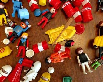Vintage Playmobil Collection - Vintage Play Mobil Destash - Vintage Toy Spare Parts - Mixed Media Craft Supply - Vintage Figurines