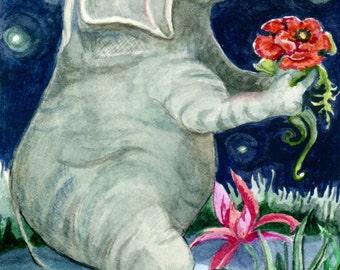Elephant in Moonlight, Original Watercolor